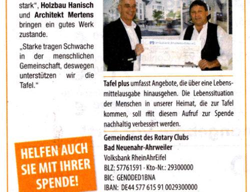 Hanisch Holzbau-Bedachung spendet für die Ahrweiler Tafel.