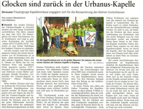 Hanisch Holzbau-Bedachung restauriert kostenlos den Glockenstuhl der Urbanus-Kapelle in Oeverich