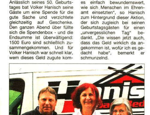 Anlässlich des Geburtstages von Volker Hanisch spendete Hanisch Holzbau 1.500 € an den Hospiz-Verein Rhein-Ahr e.V.